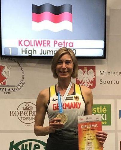 Petra Koliwer ist Weltmeisterin im Hochsprung der W50